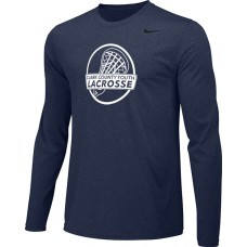 Clark County Youth Lacrosse 14: Youth-Size - Nike Team Legend Long-Sleeve Crew T-Shirt - Navy Blue
