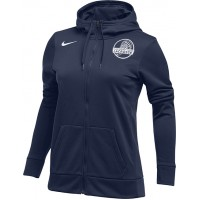 Clark County Youth Lacrosse 20: Nike Women's Therma All-Time Hoodie Full Zip - Navy Blue